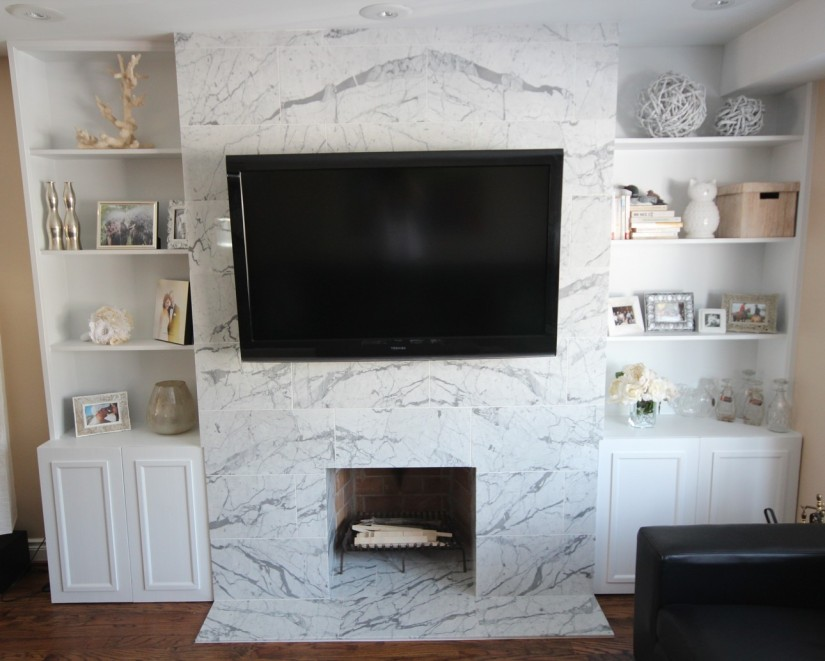 Marble Fireplace Mantle & CustomBuilt-ins