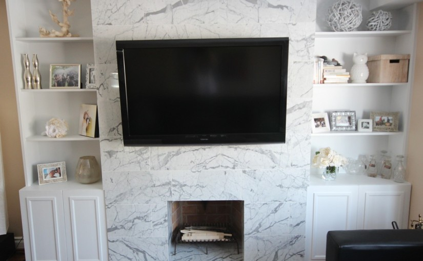 Marble Fireplace Mantle & Custom Built-ins